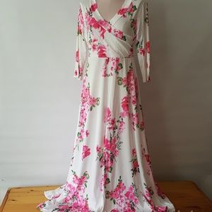 Dresses - Pink and white floral maxi dress high waist medium